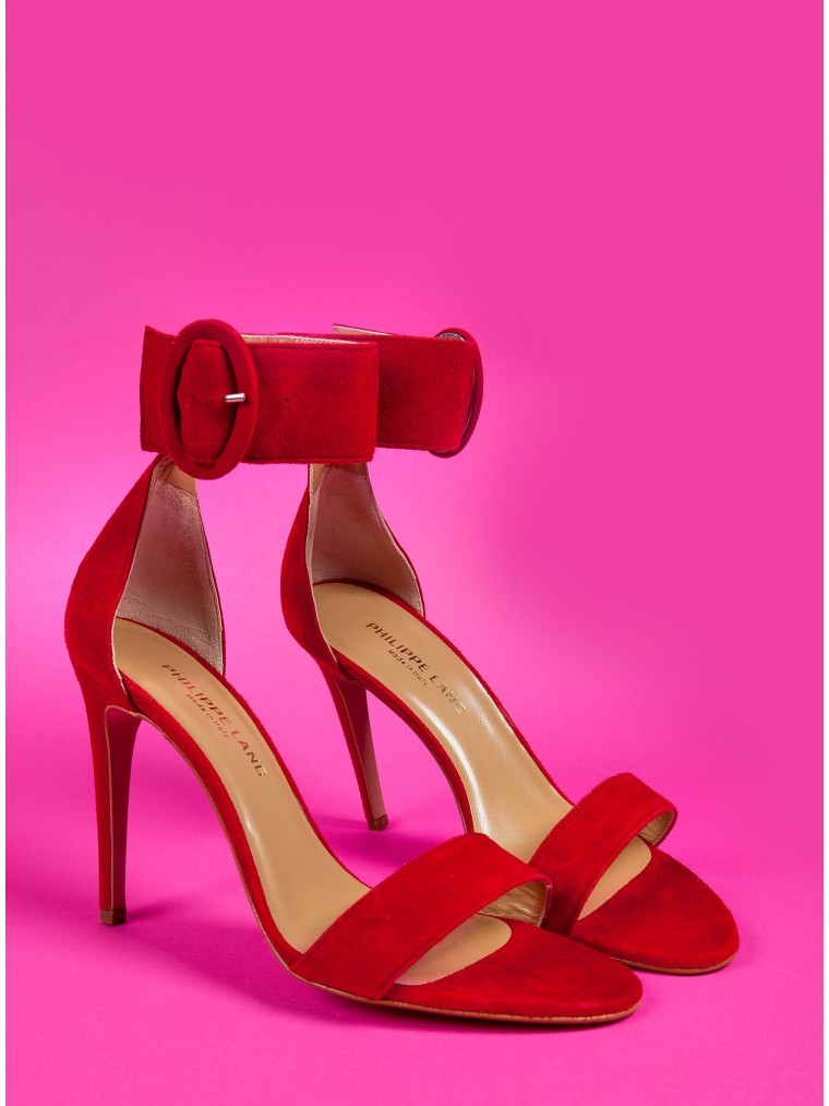 Philippe Lang Heel Sandals-Red