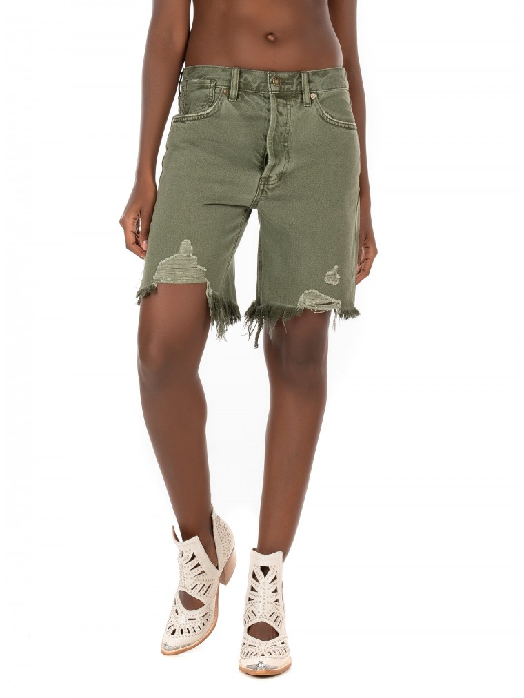 Free People Sequoia Jeans Shorts-Olive