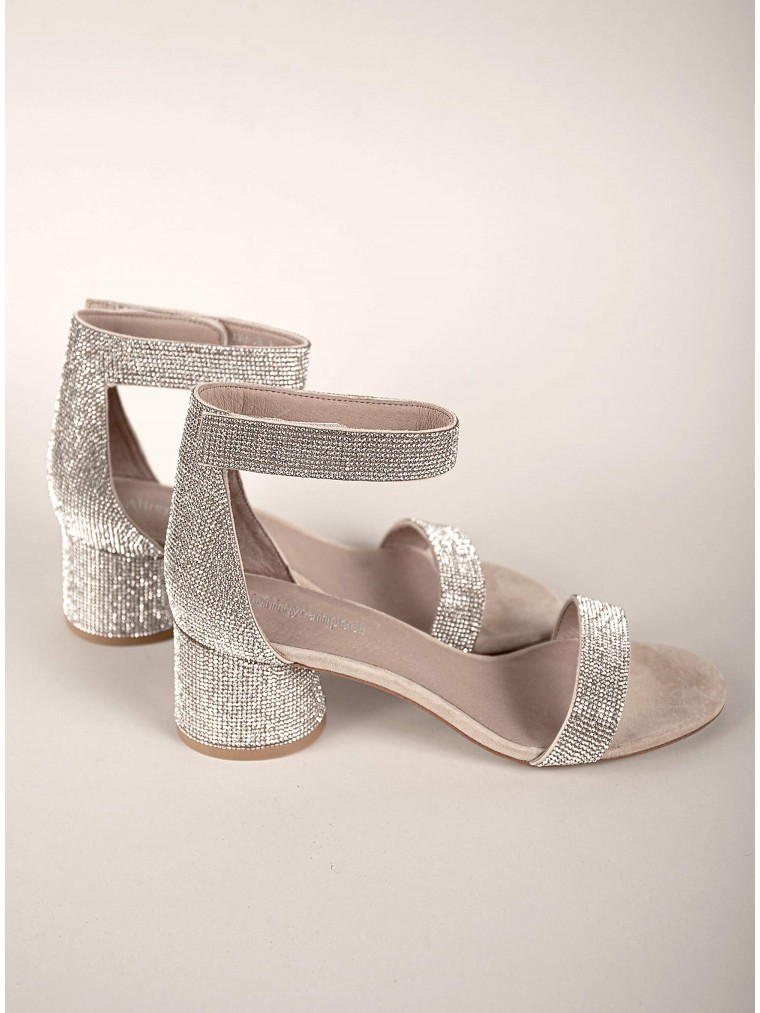 Jeffrey Campbell Low Heeled Sandals Issa-Silver