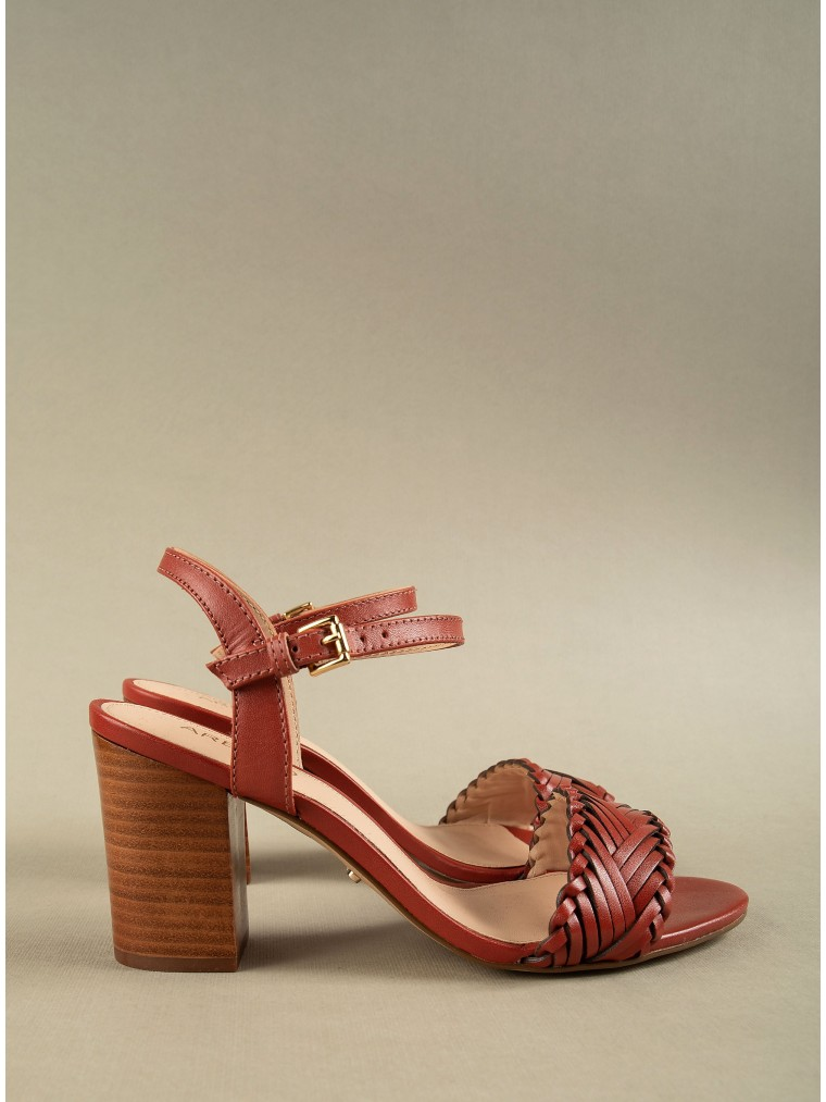 Arezzo Heeled Sandals-Brown