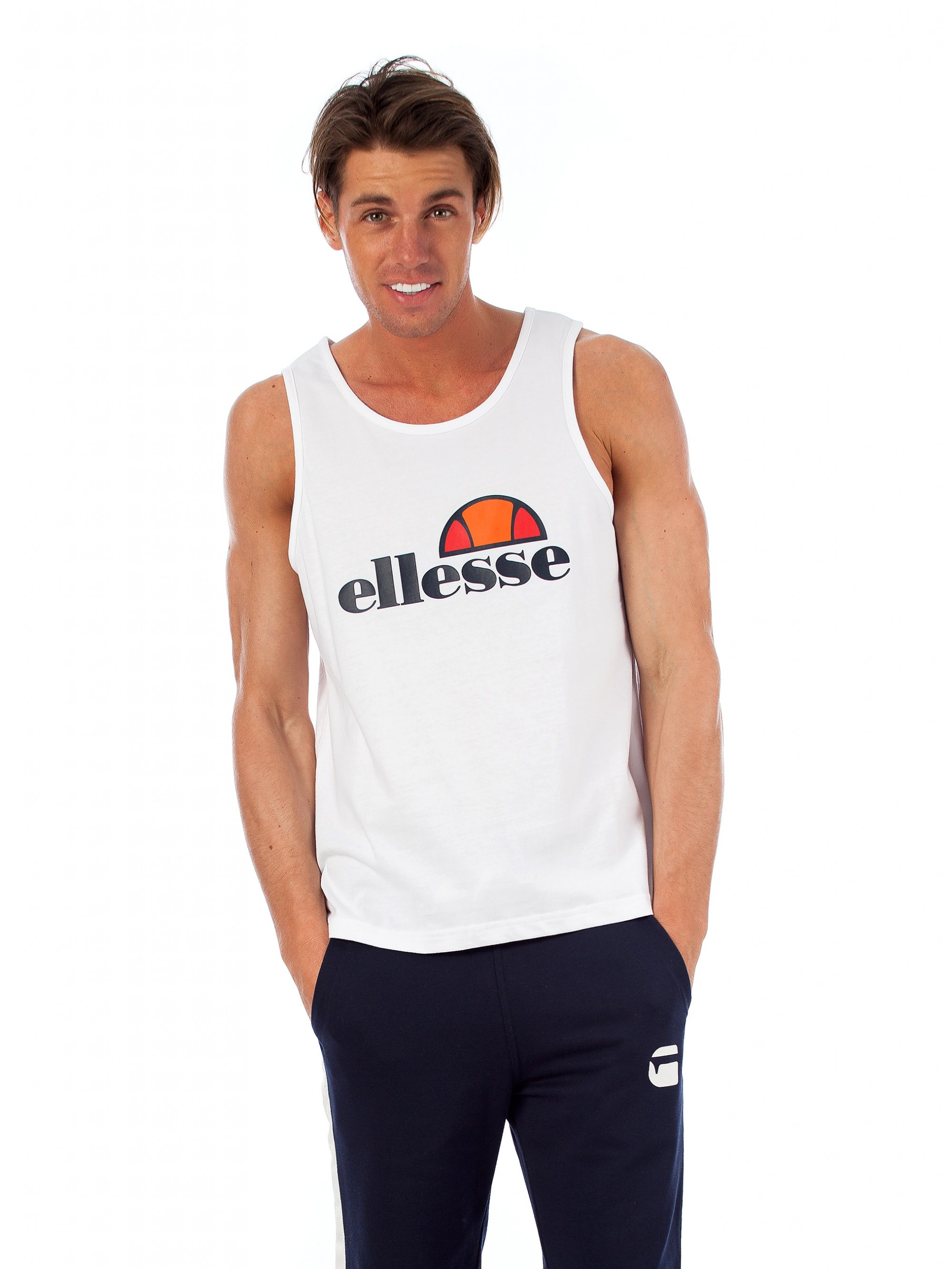 Ellesse Tank Top Trattini-White - T-Shirts - Blouses   Tops - Tops ... 830a5a9514