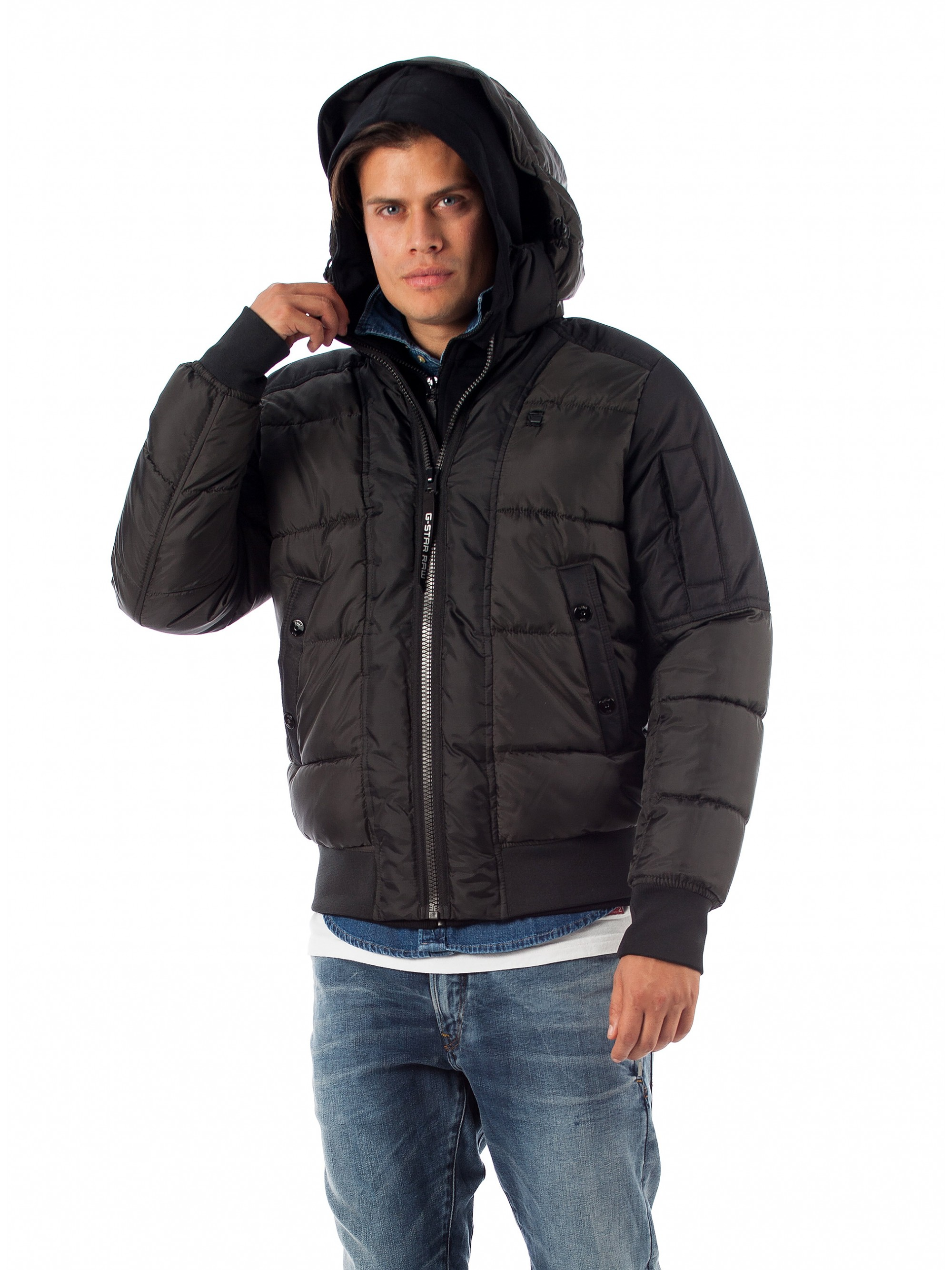 ab8bdab7699 ... Jackets & Coats; G-Star Whistler Quilted Hooded Bomber-Black. Tap to  expand