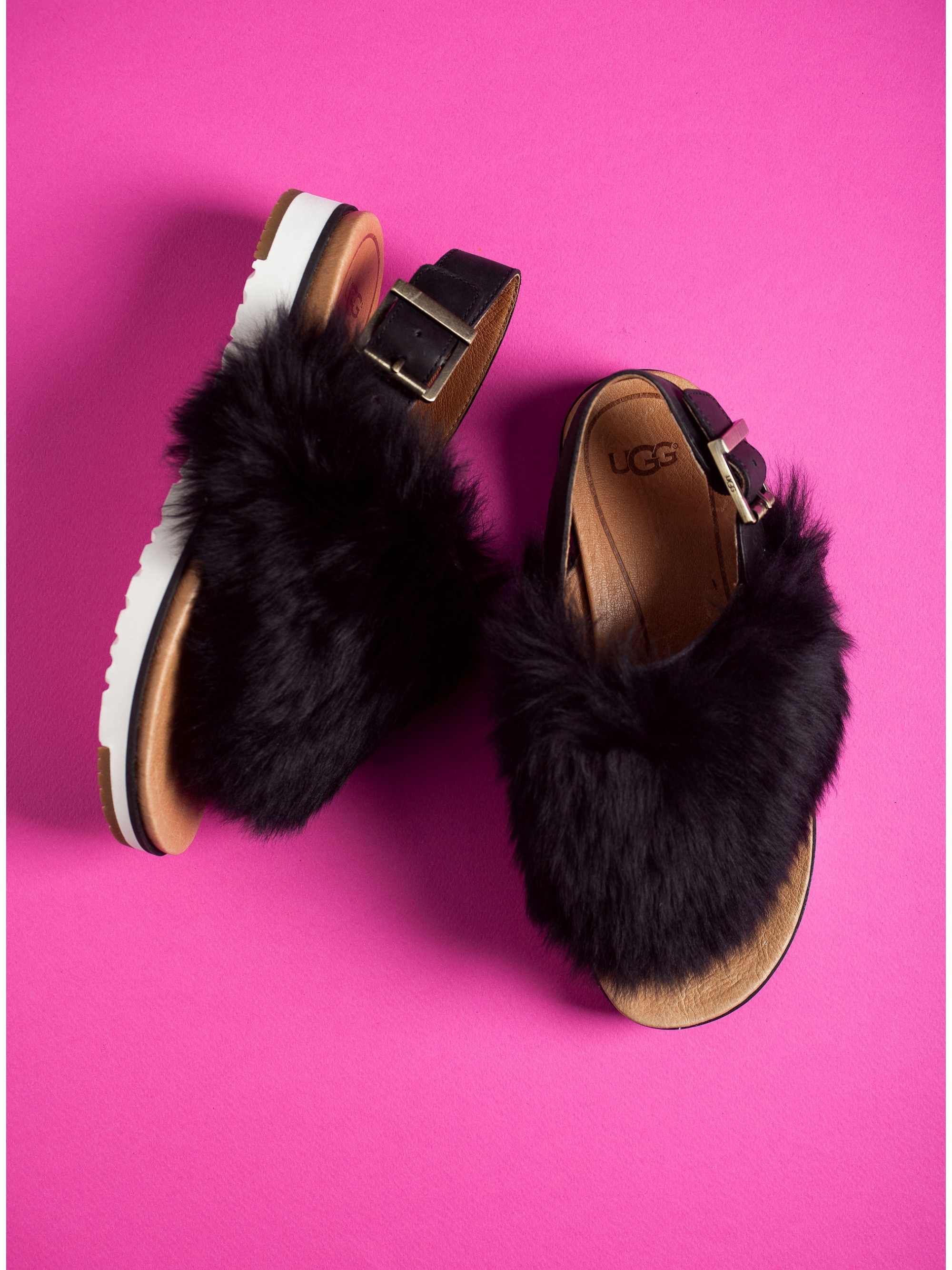 6e8f3ab2082 Ugg Australia Sheepskin Sandals Holly-Black