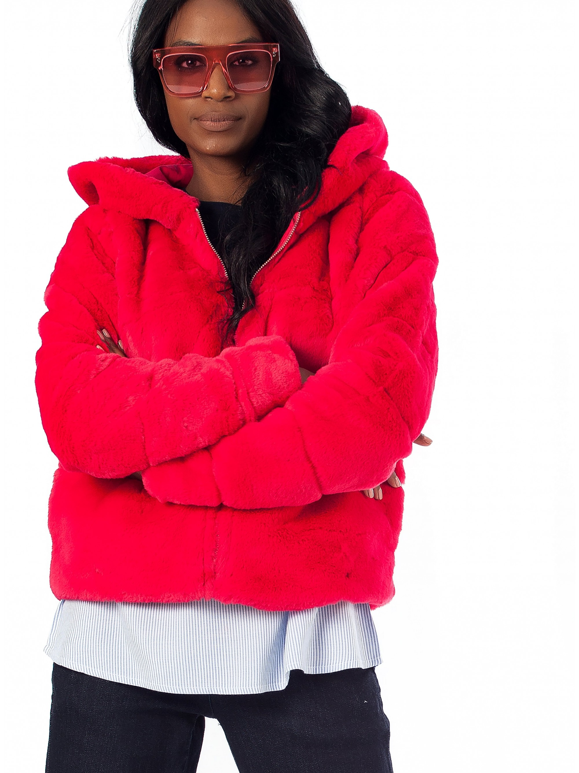 new appearance nice cheap beauty Only Chris Fur Hooded Jacket-Fuchsia - Jackets & Coats - Tops ...