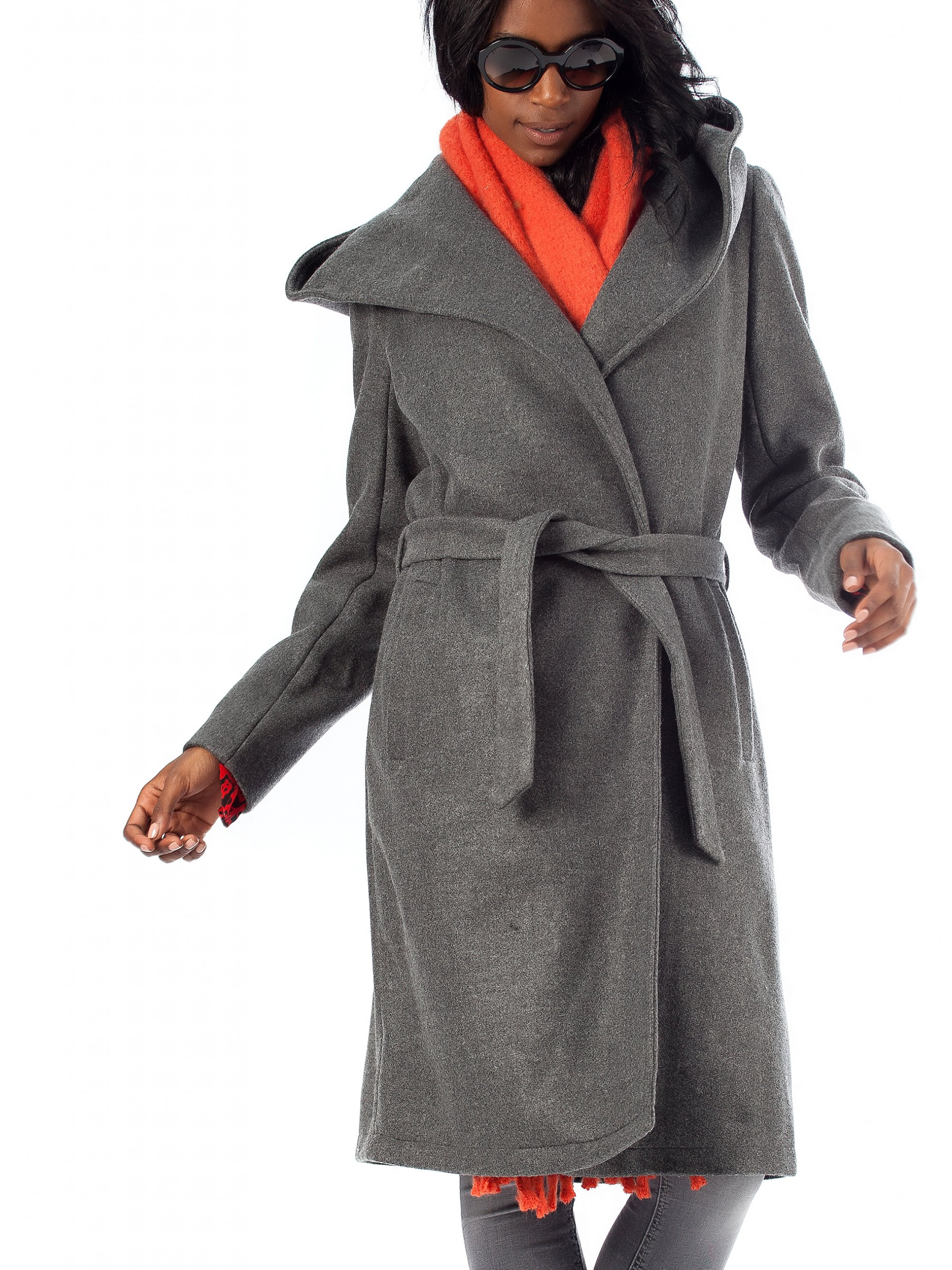 innovative design great variety styles hot-selling discount Only Wool Hooded Wrap Coat Riley-Dark Grey - Fall-Winter 2018-19