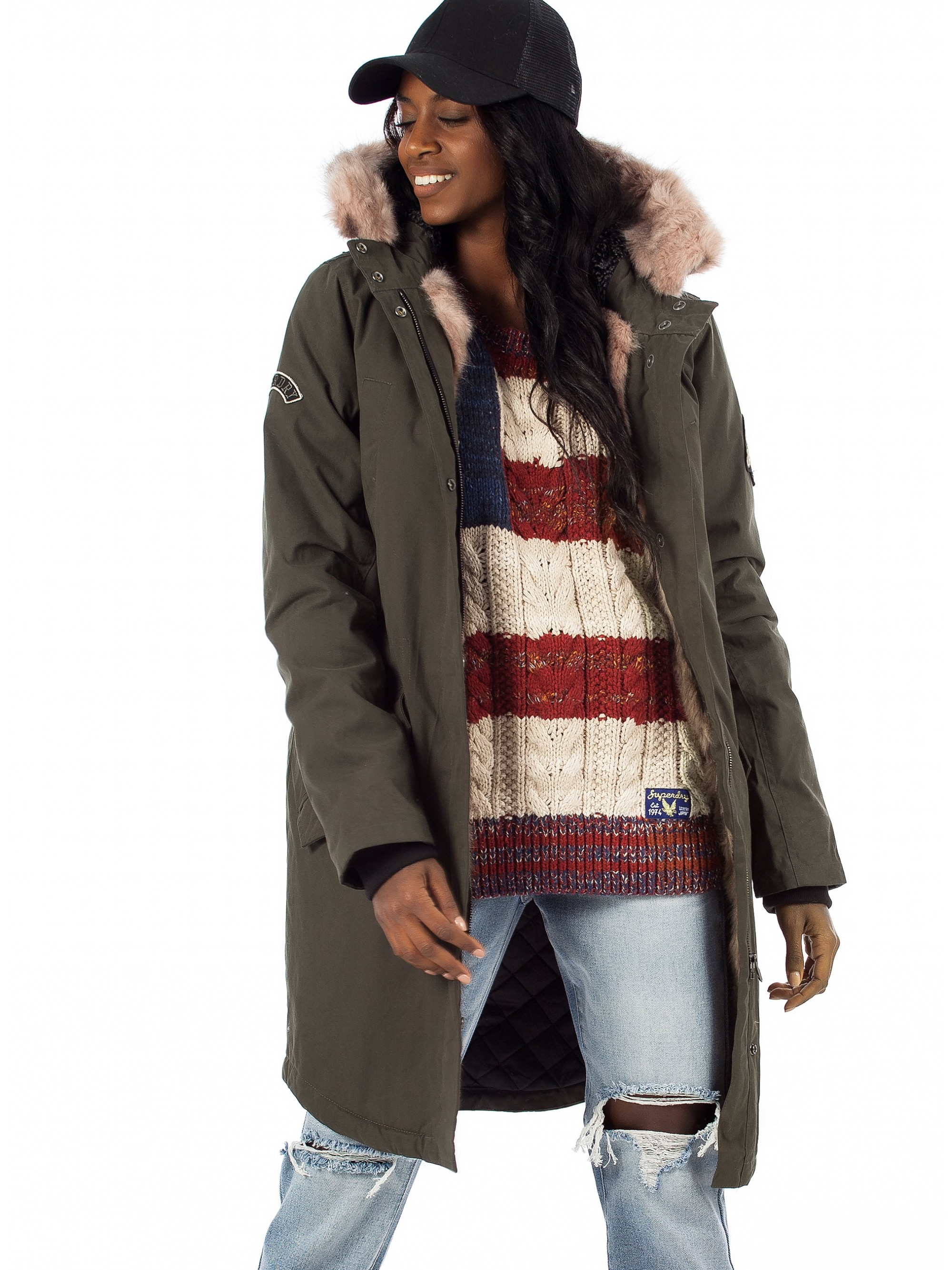 marketable hot sales yet not vulgar Superdry Frankie Faux Fur Line Parka-Olive - Jackets & Coats - Tops - Women
