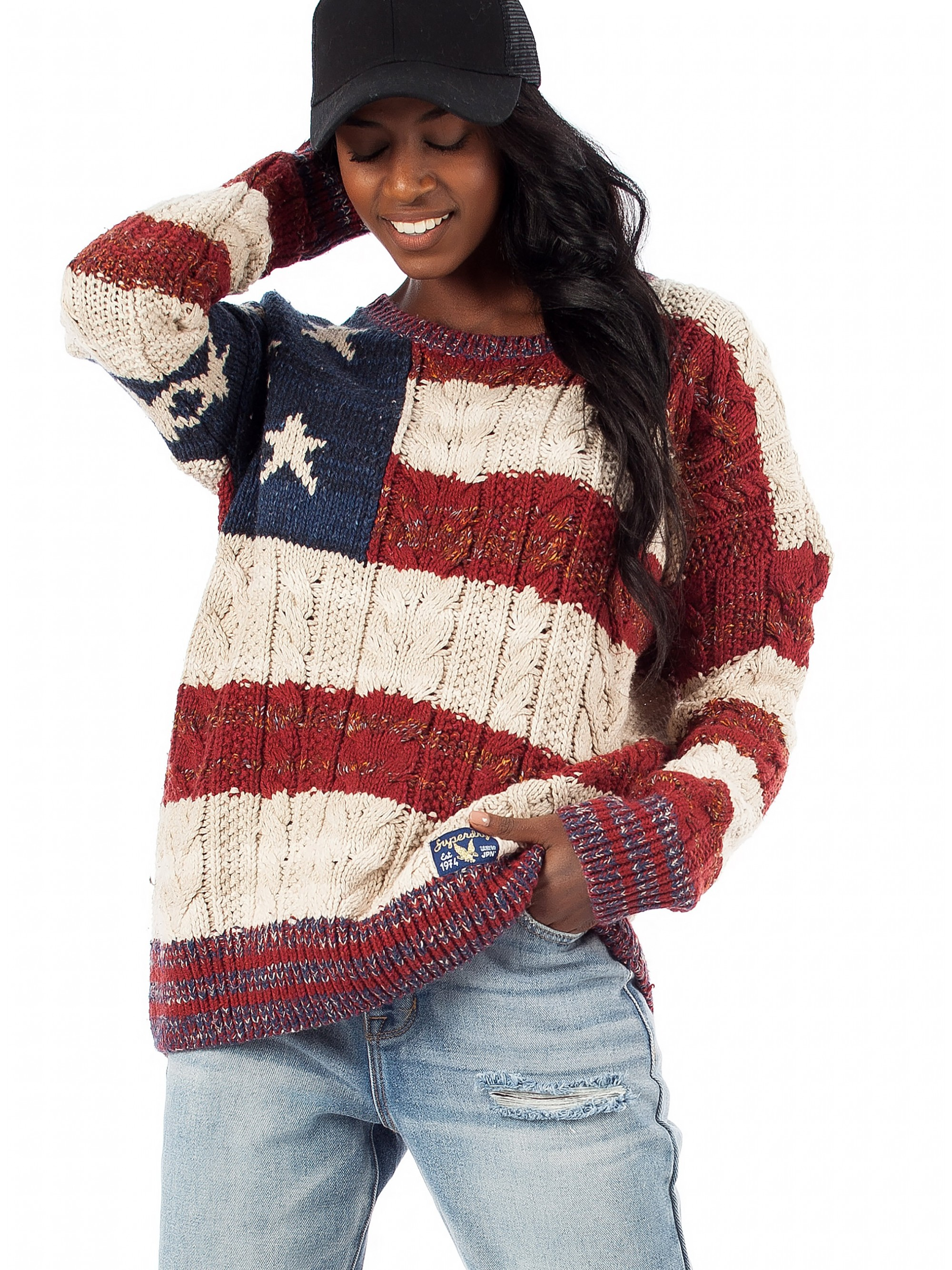 Superdry Americana Cable Knit Beige Women