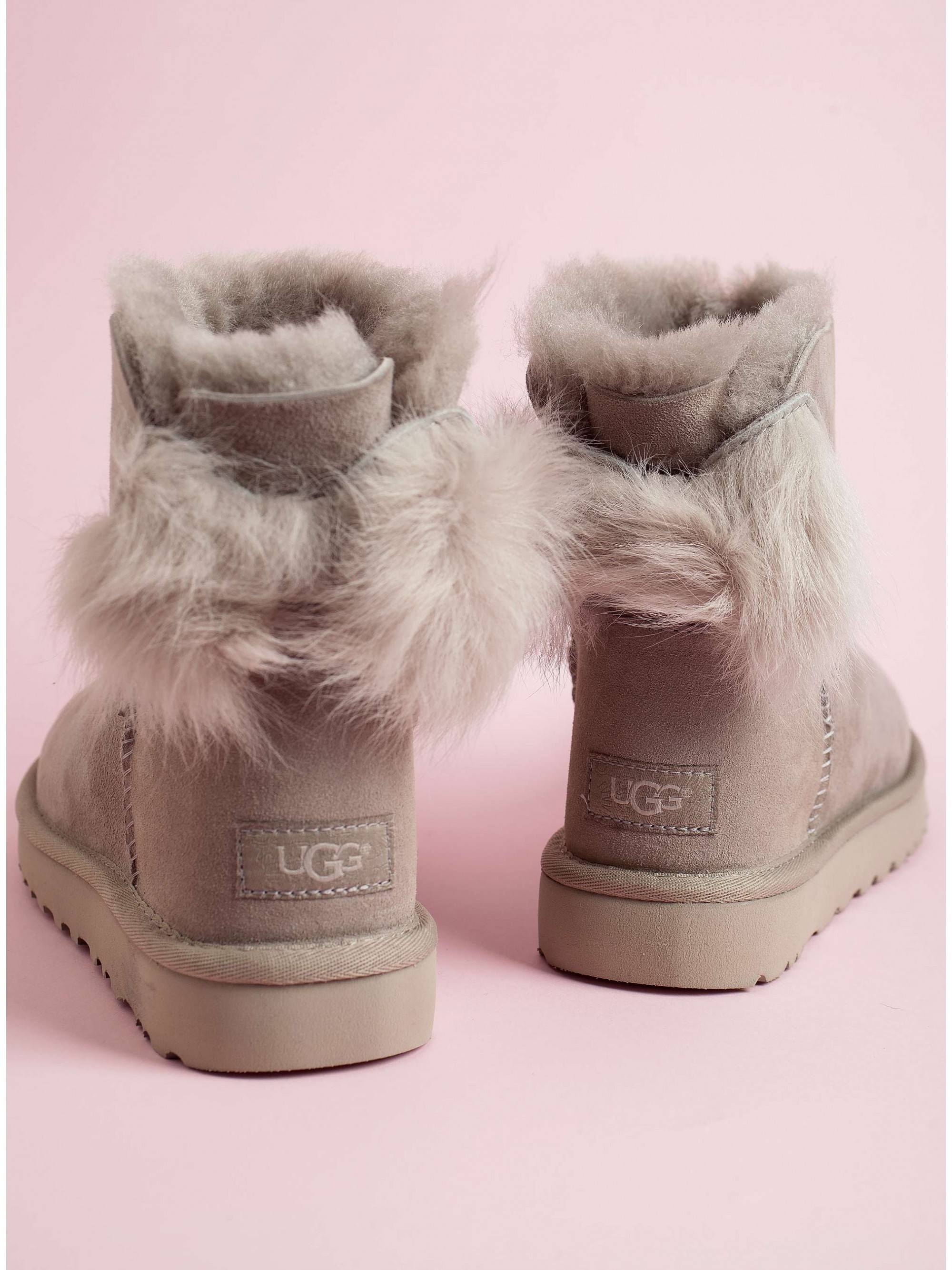 815767386de Ugg Australia Ankle Boots Fluff Bow Mini-Light Grey