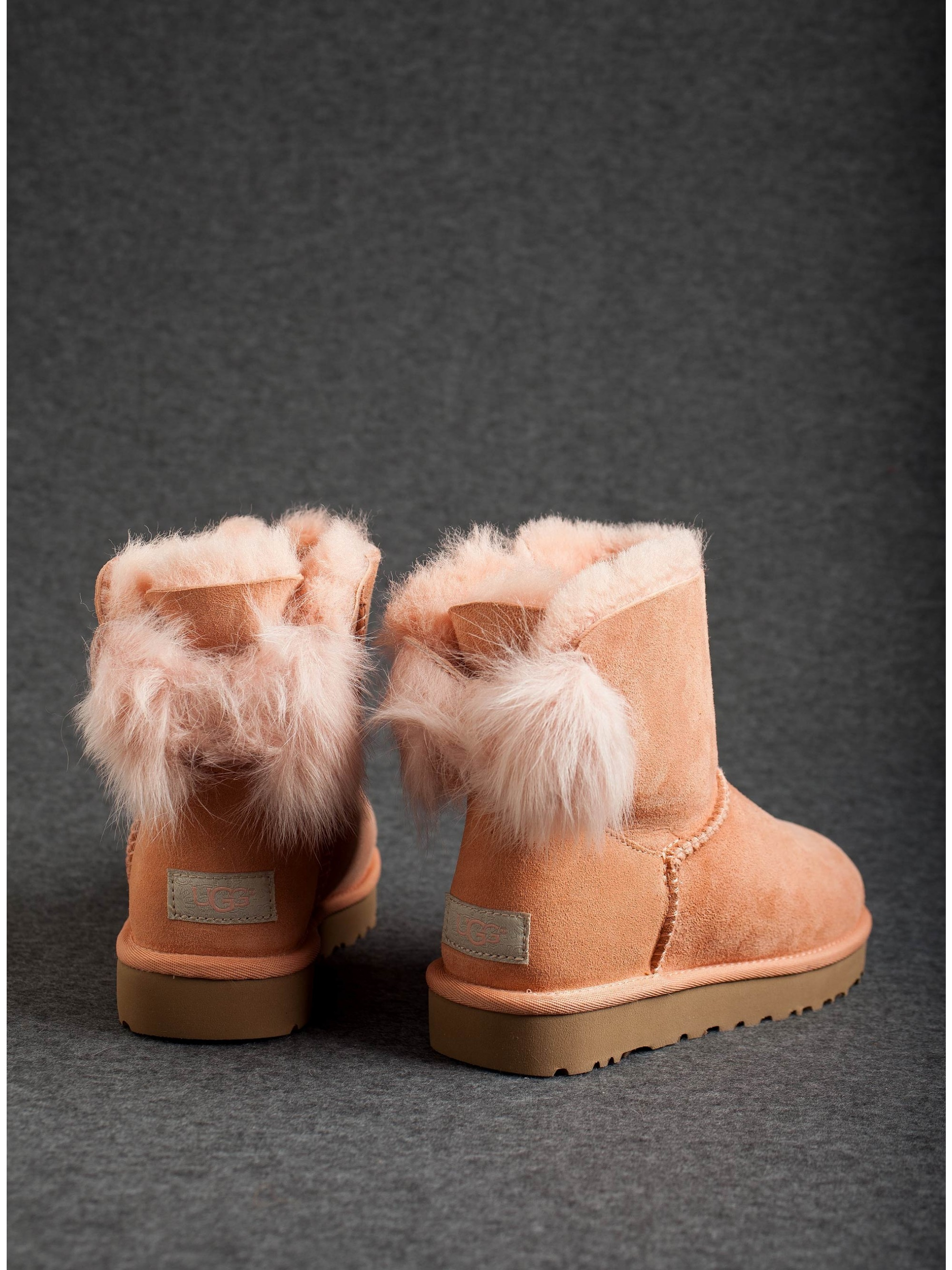 ac96869d829 Ugg Australia Ankle Boots Fluff Bow Mini-Pink