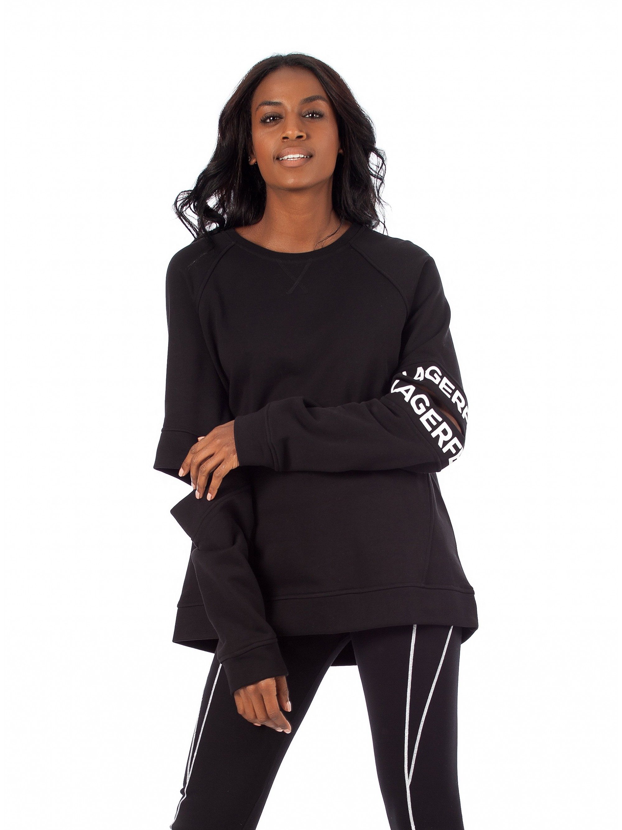 7bc104de282 ... Cut Out Sleeve Sweater-Black. Tap to expand