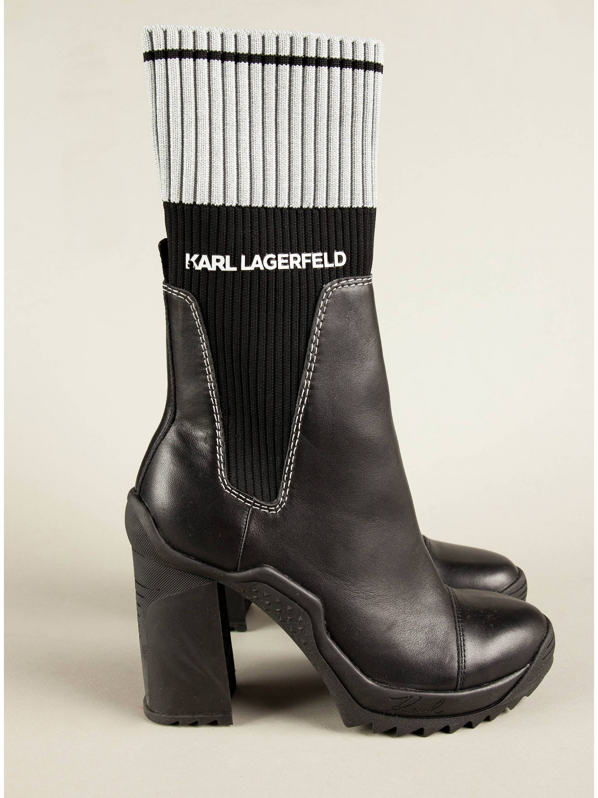 Karl Lagerfeld Ankle Knit Collar Boots