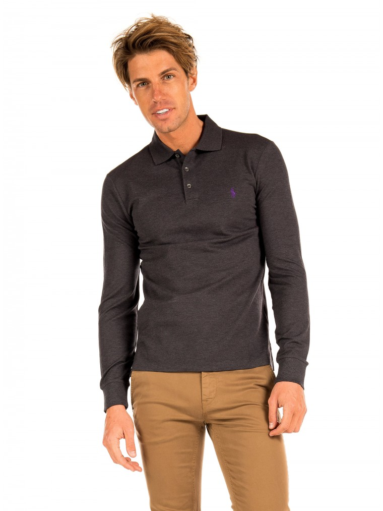 Polo Ralph Lauren Polo Shirt-Dark Grey Melange