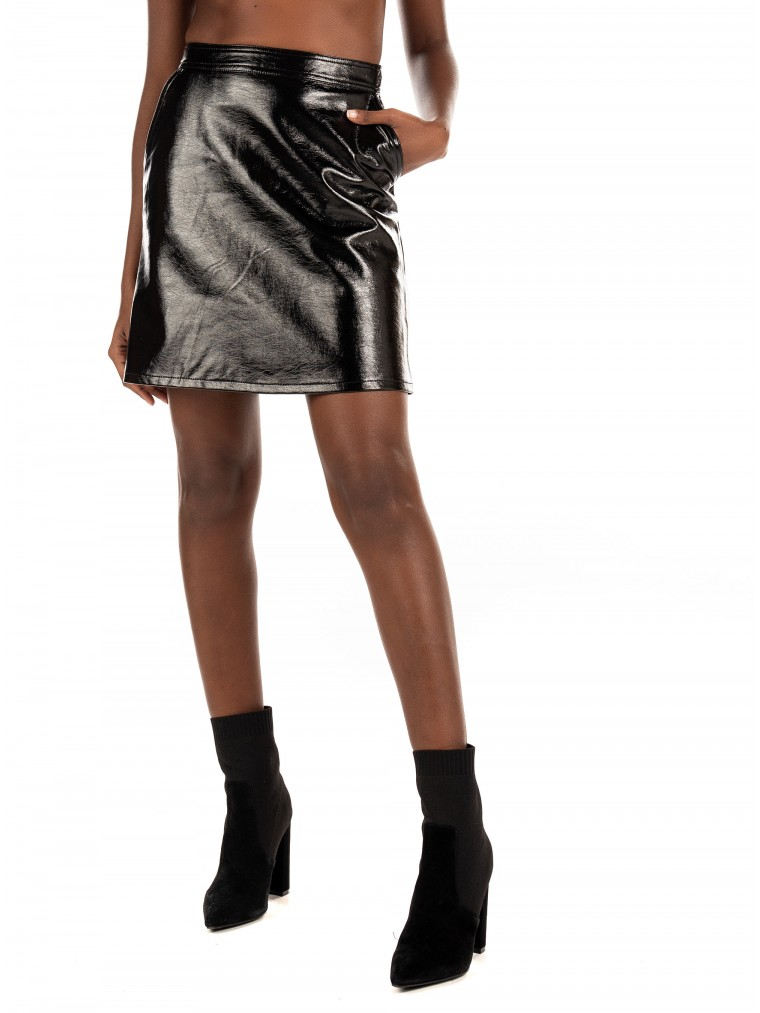Only Faux Leather Skirt Bella-Black
