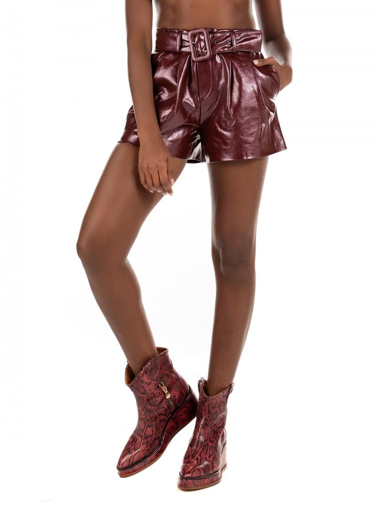 Only Faux Leather Shorts Scarlet-Bordeaux