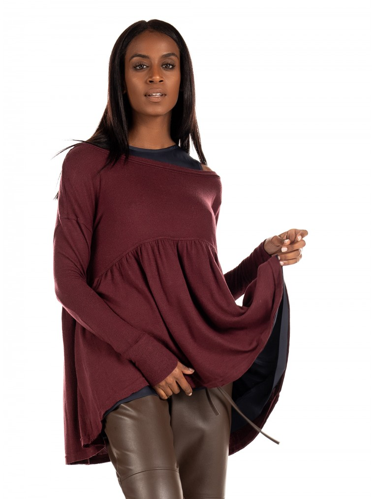 Free People Blouse Forever Your Girl-Bordeaux