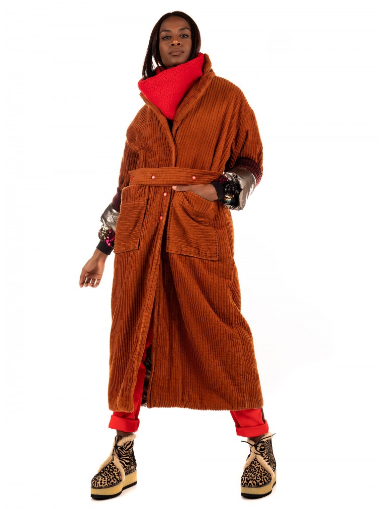 OOF Cordouroy Long Coat-Rust