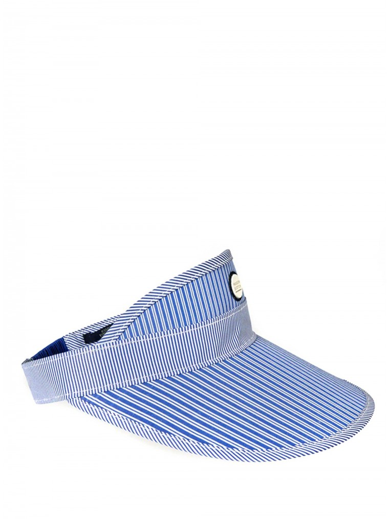 Maison Scotch Striped Visor Hat-Blue