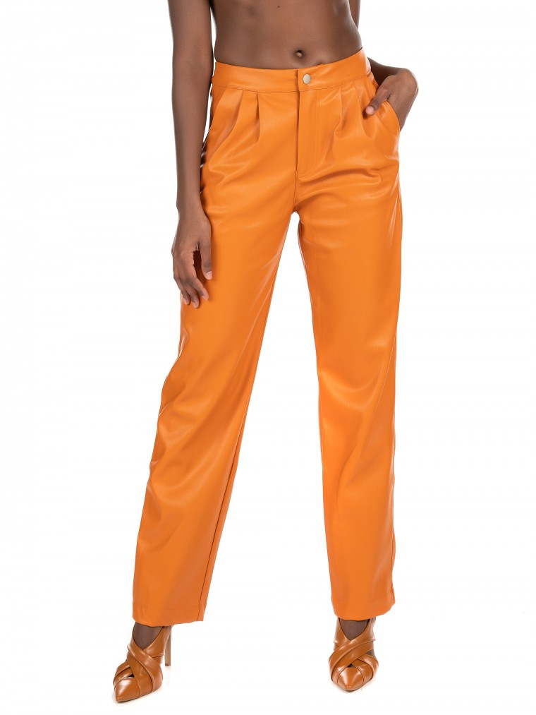 Kendall + Kylie Vegan Leather Crop Pants-Orange