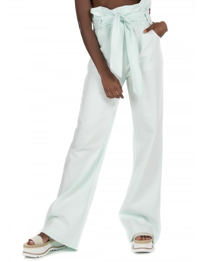 Kendall + Kylie High Waisted Ruffle Pants-Aquamarine