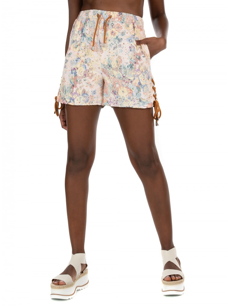 Kendall + Kylie Lace Up Shorts-Printed