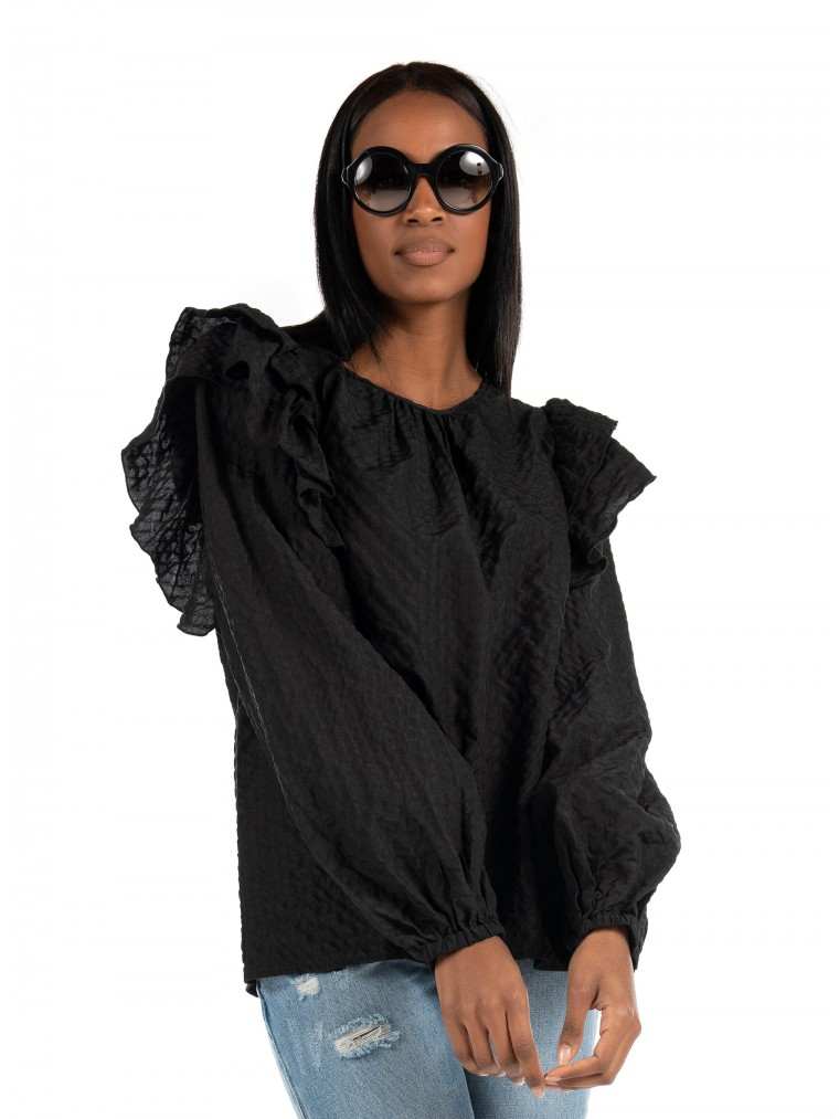 Vero Moda Frill Top Mindy-Black