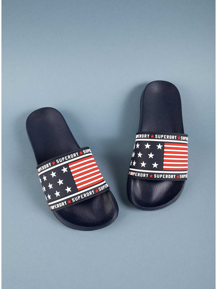 Superdry American Spirit Pool Slides-Blue