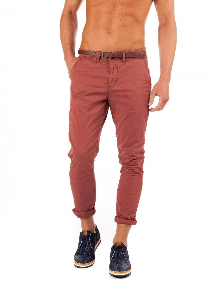 Petrol Chino Pants-Light Bordeaux