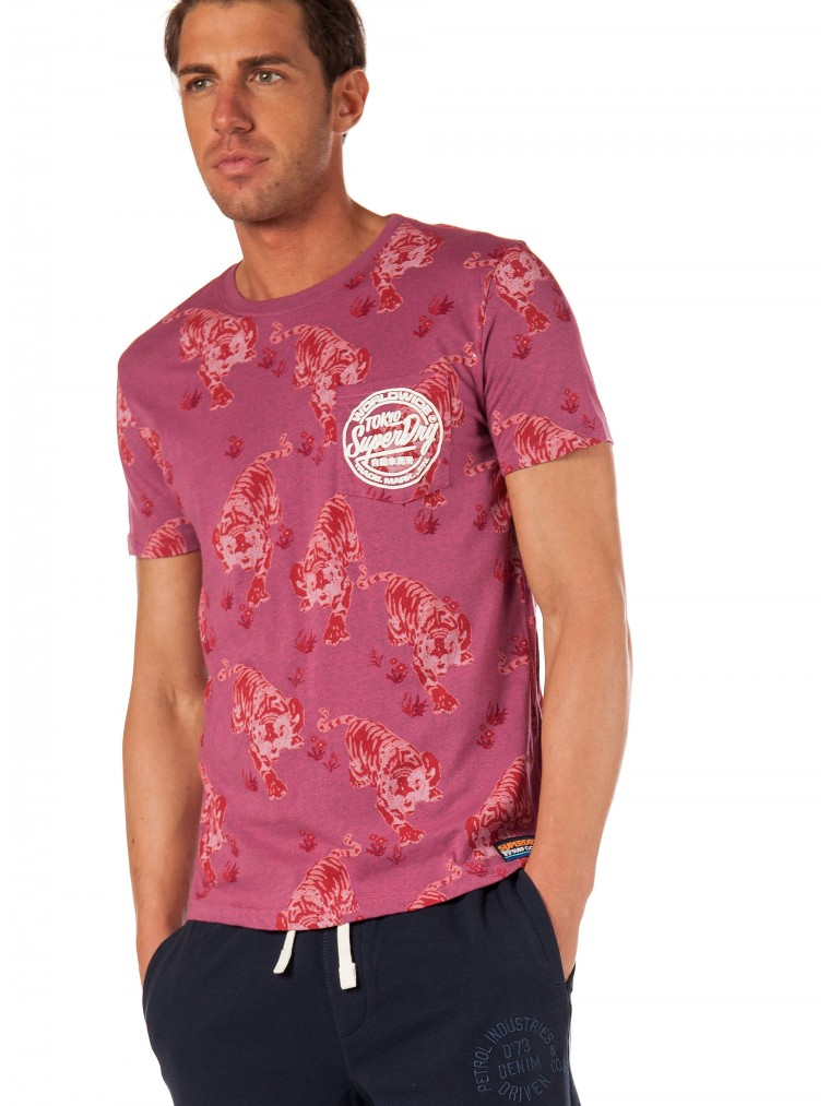 Superdry All Over Ticket Type Pocket Lite T-Shirt-Fuchsia