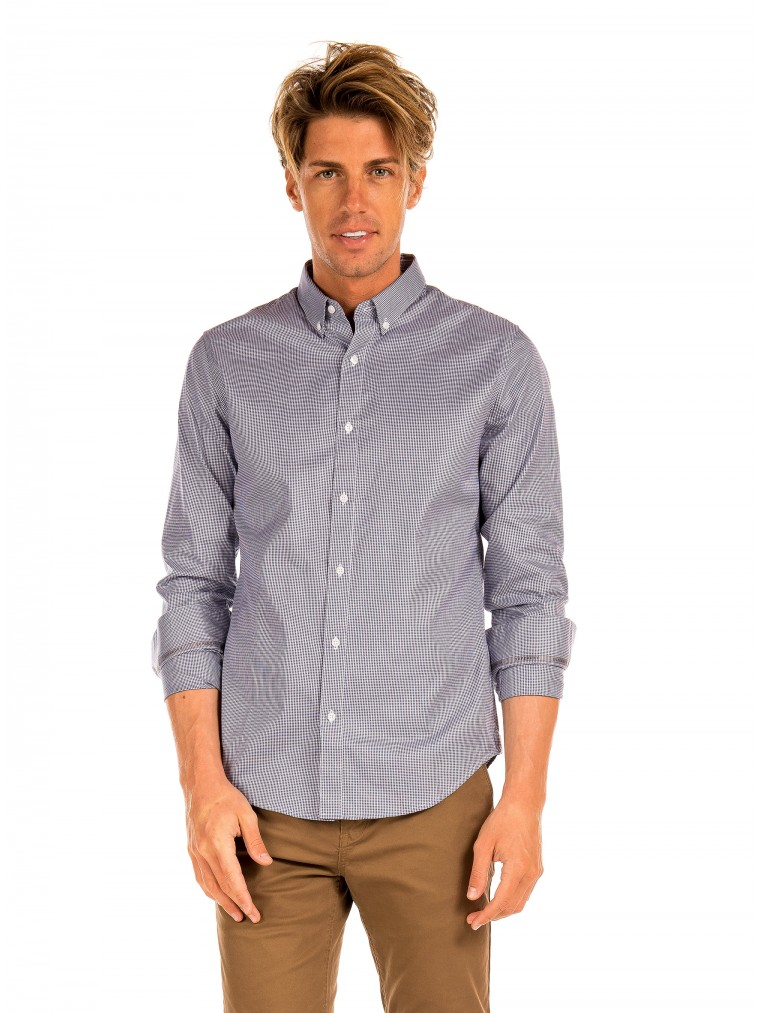 Superdry Edit Button Long Sleeved Shirt -Tartan Light Blue