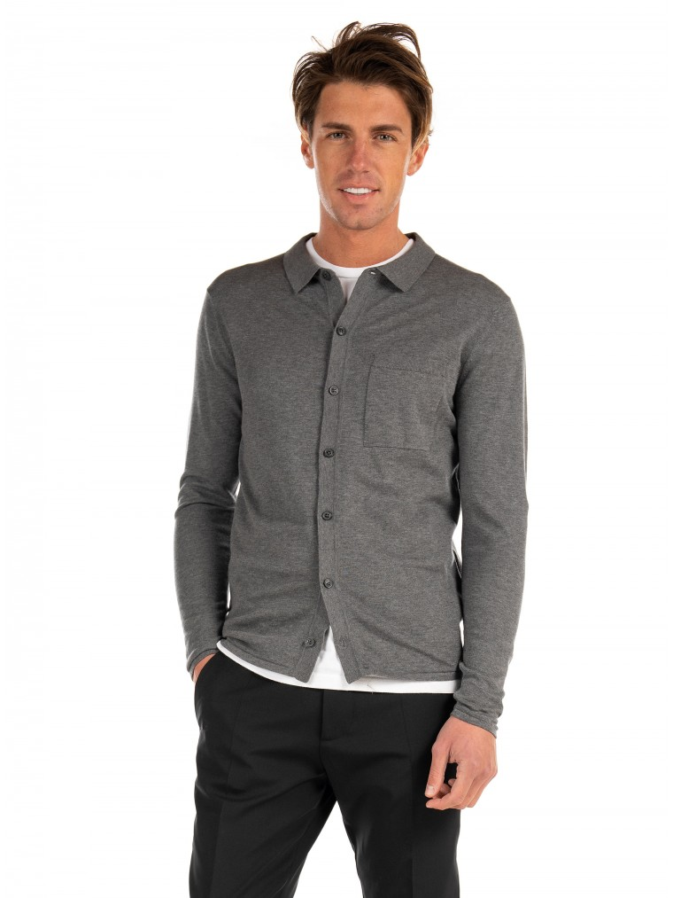 Jack & Jones Polo Knitted Cardigan-Grey