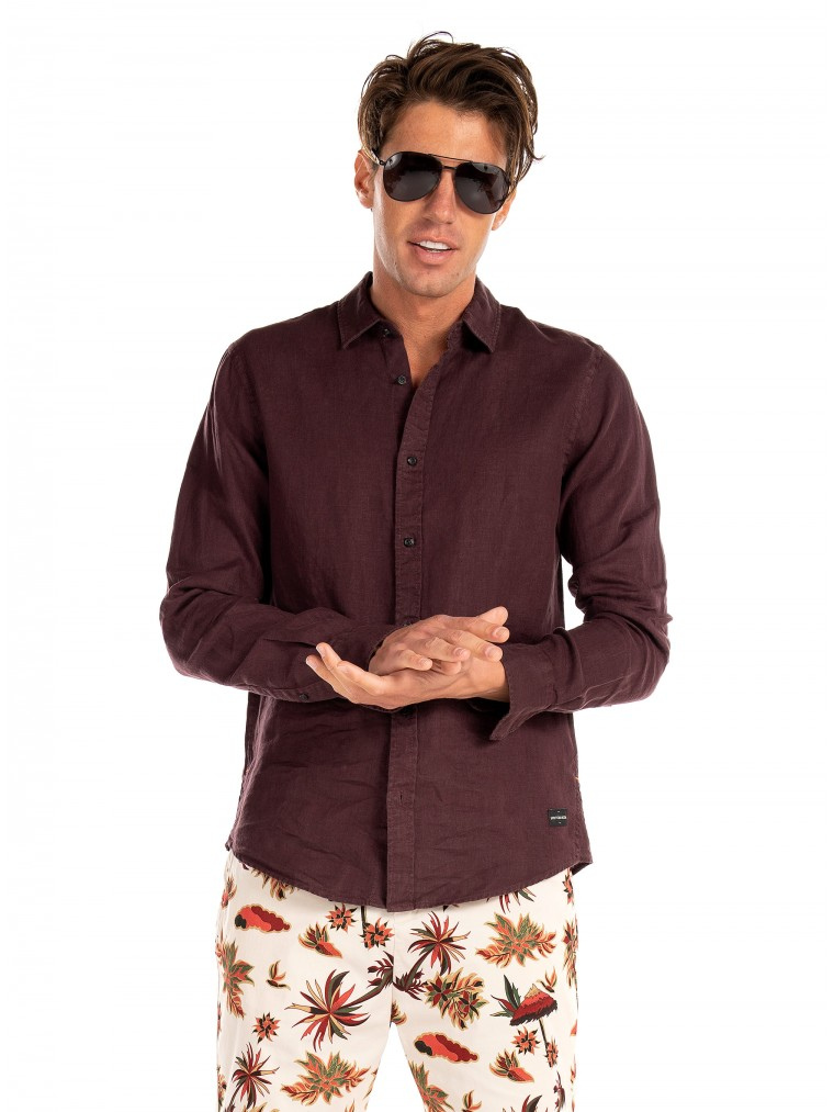Scotch & Soda Linen Shirt-Bordeaux