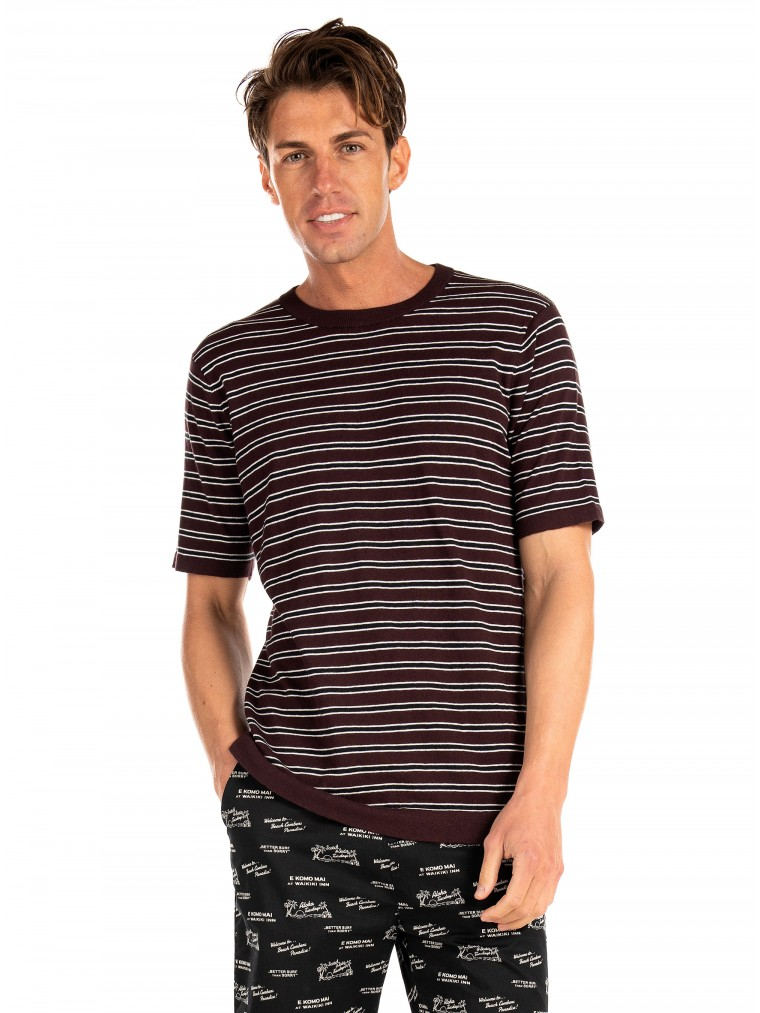 Scotch & Soda Knitted T-Shirt-Bordeaux