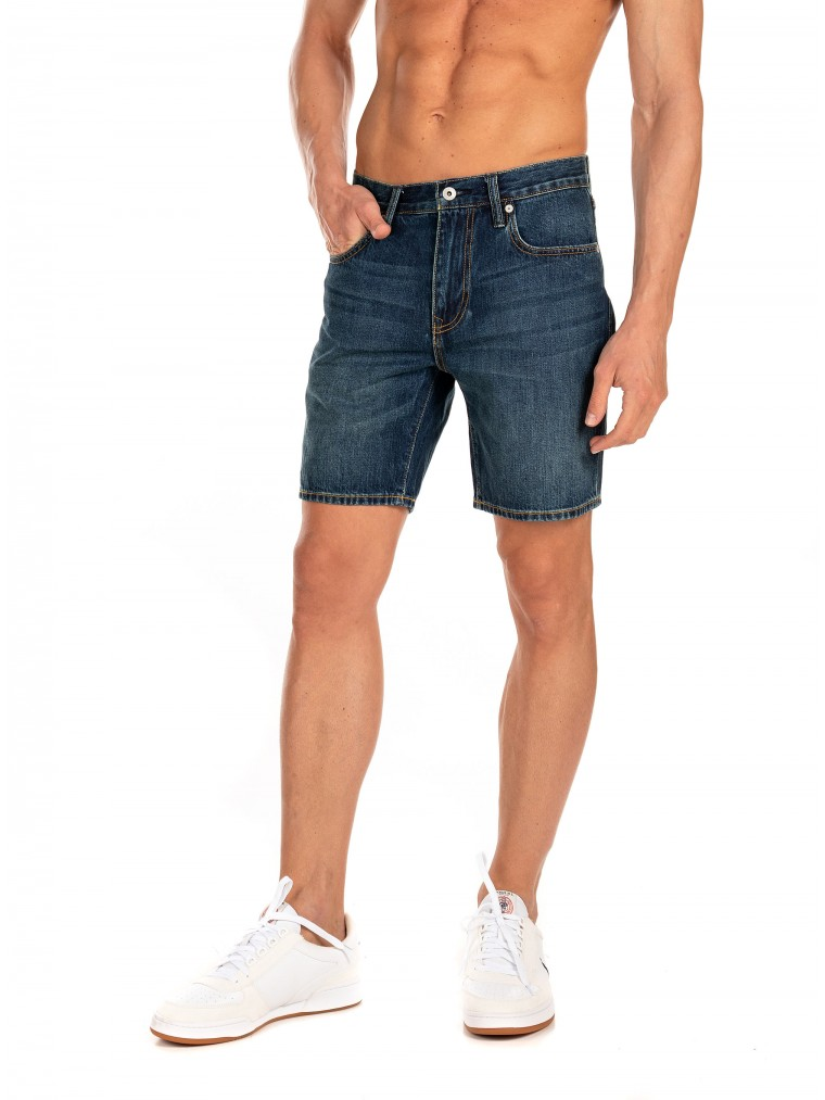 Superdry Conor Taper Shorts-Dark Aged Denim