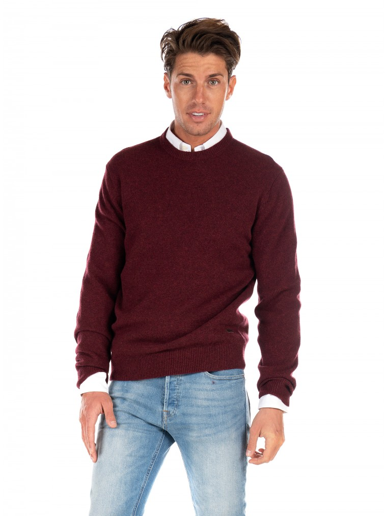 Barbour Lambswool Patch Knit-Bordeaux