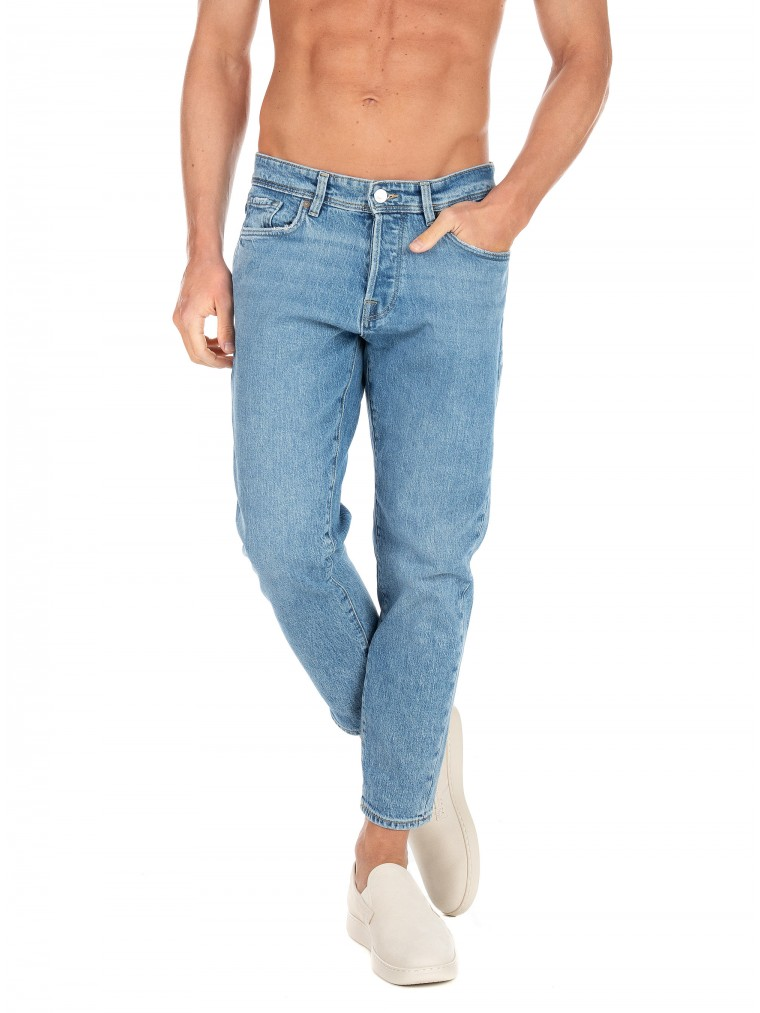 Selected Relaxed Fit Cropped Jeans-Medium Aged Denim