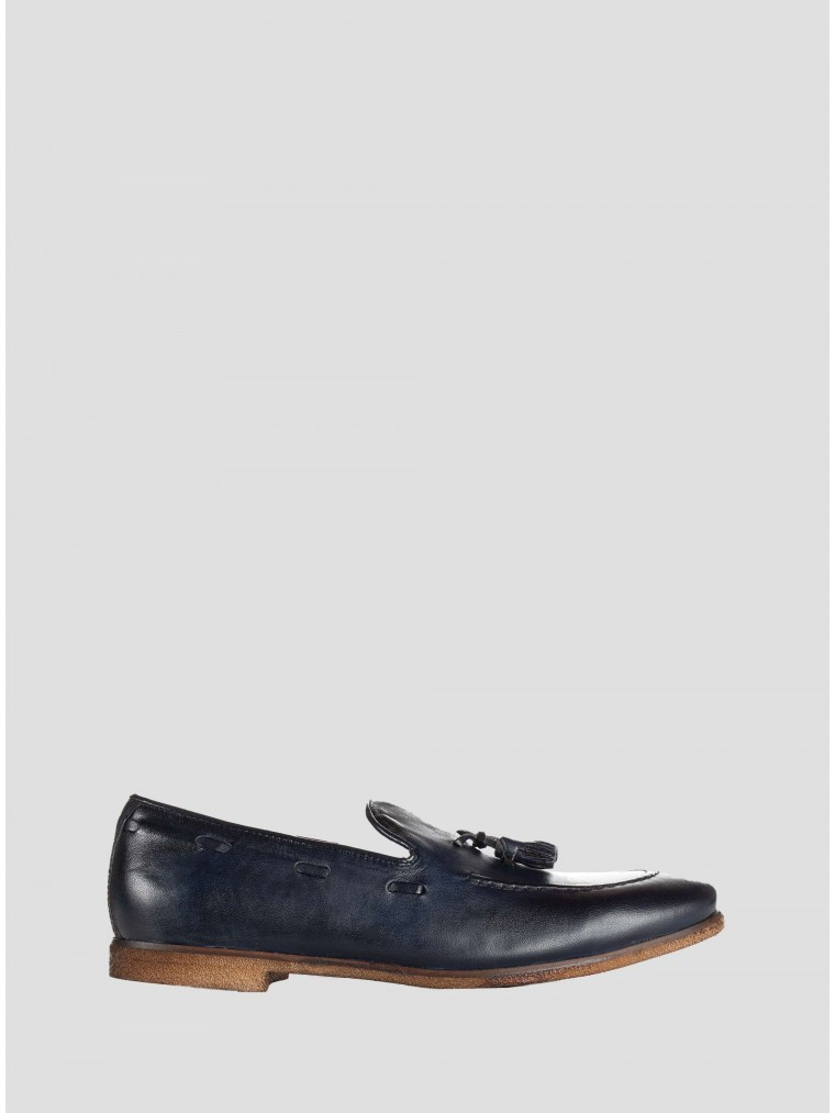 Wow Leather Loafers-Blue