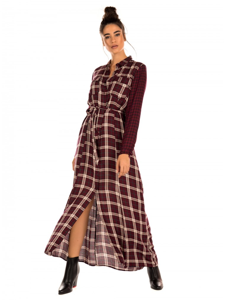 Only Checked Shirt Dress Courtney-Bordeaux