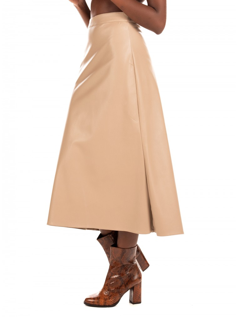 My T Faux Leather Skirt-Beige