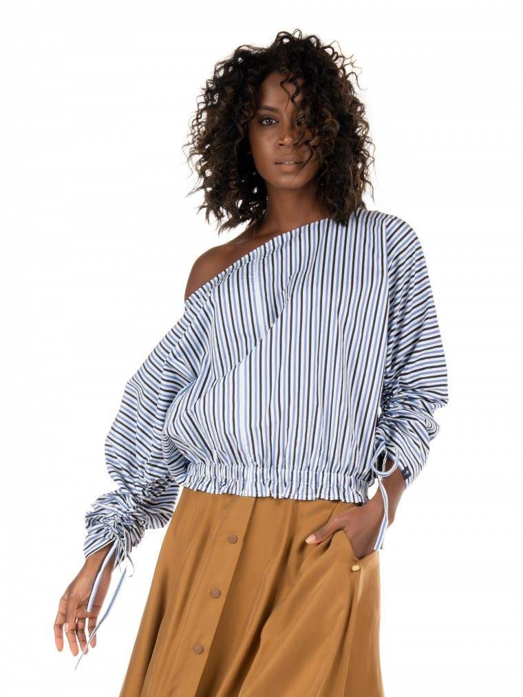 Maison Scotch Boat Neck Top-Striped