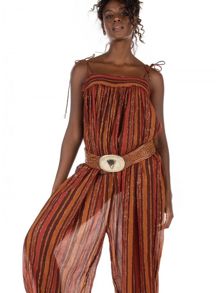 Free People Harem Lurex Jumpsuit-Brick Brown