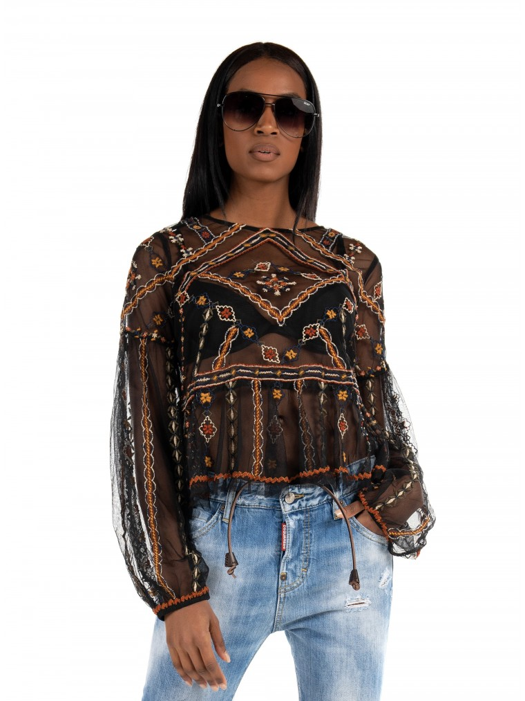Free People Give A Little Mesh Top-Black