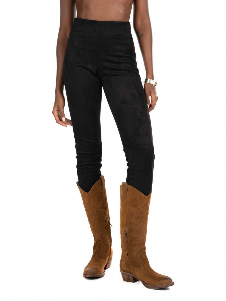 Only Faux Suede Leggings Florence-Black