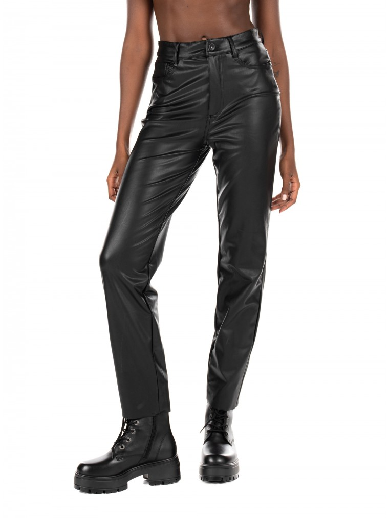 Only High Waist Ankle Faux Leather Pants Emily-Black