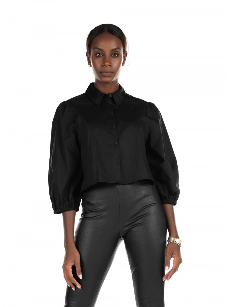 Only 3/4 Cropped Shirt Lonnie-Black