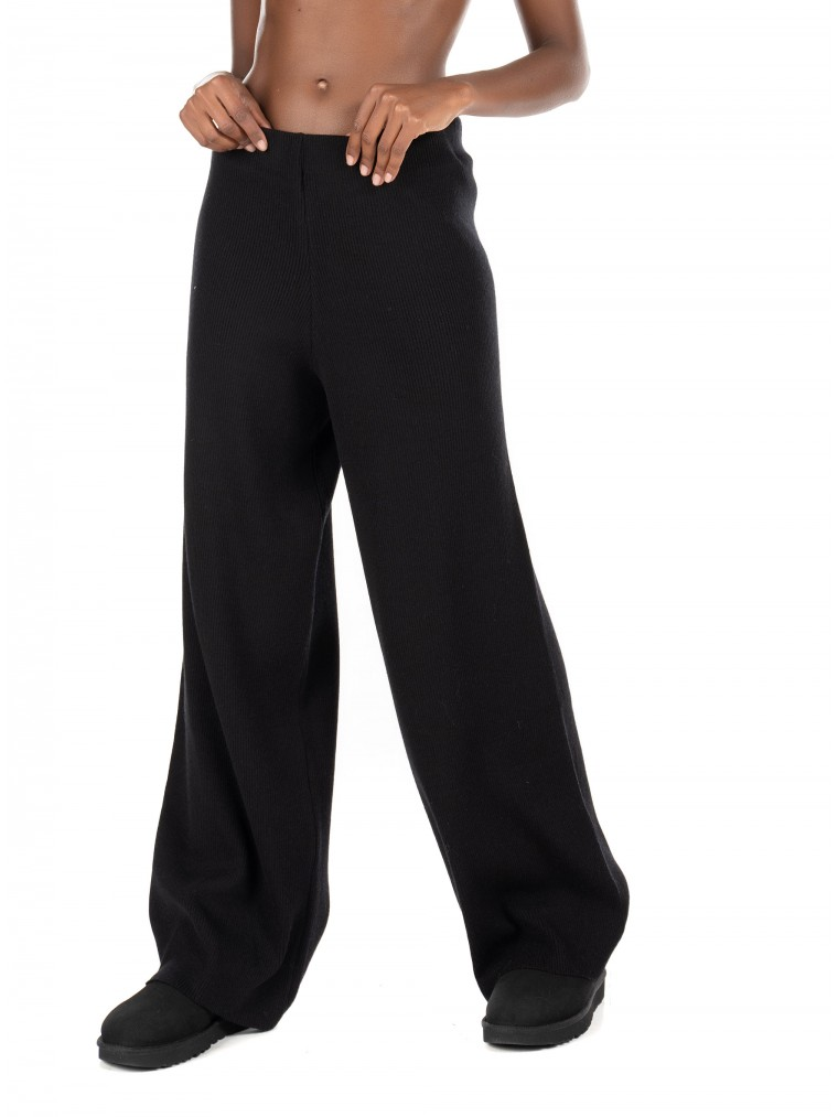 Black & Black Knitted Pants-Black