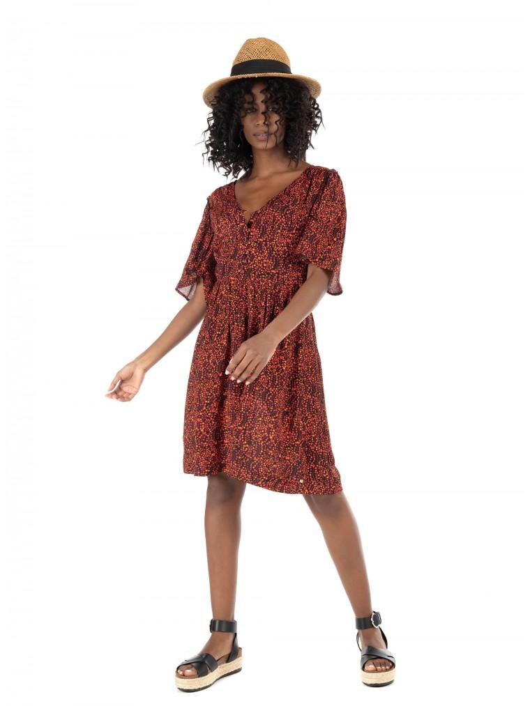Maison Scotch Fitted Waist Dress -Printed