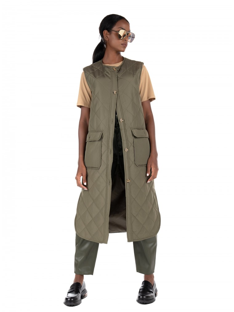 Only Long Quilt Jacket Nayra-Olive