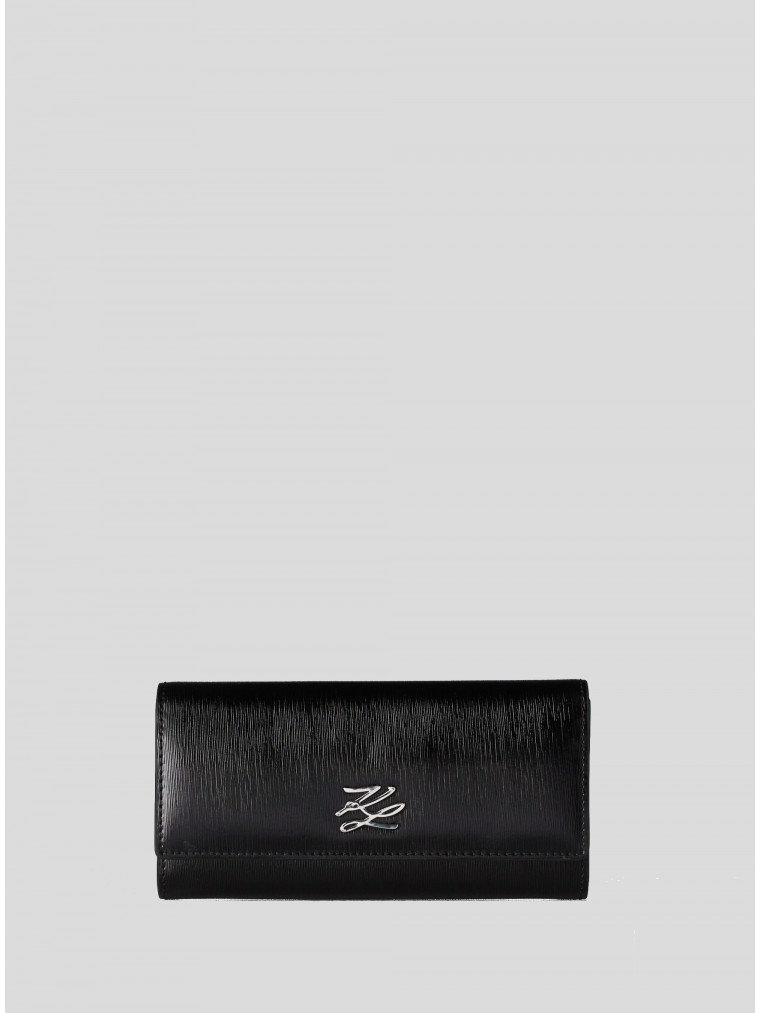 Karl Lagerfeld Autograph Shell Continental Leather Wallet-Black