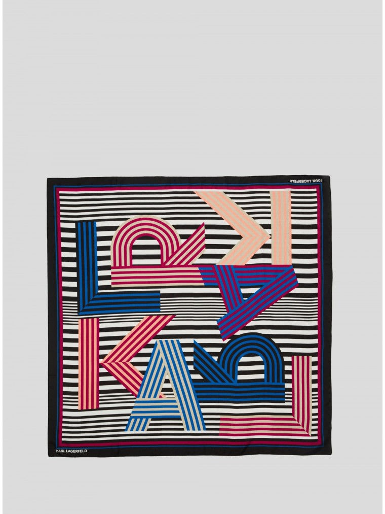 Karl Lagerfeld Karl Letter Washed Silk Scarf-Coral