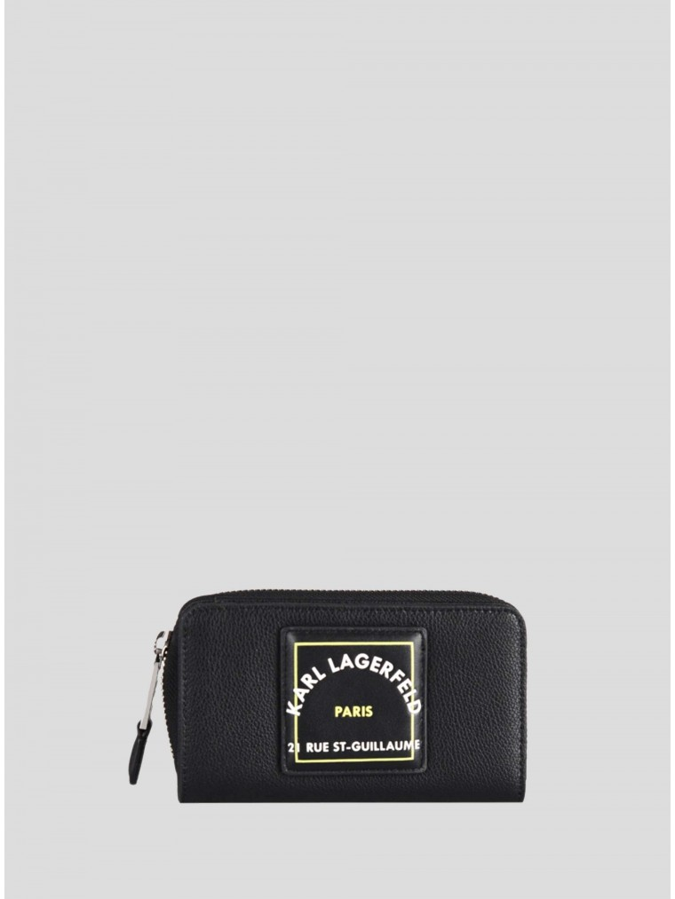 Karl Lagerfeld Rue ST-Guilaume Patch Fold Leather Wallet-Black